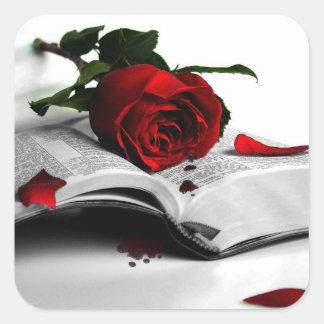 Libro de corazones quebrados calcomanía cuadrada personalizada