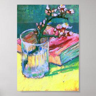 Libro de cristal floreciente de la rama de la alme posters