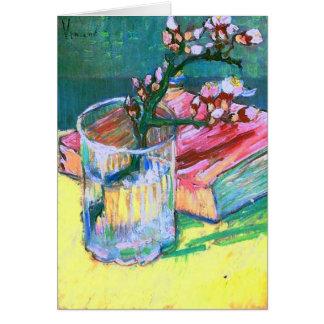 Libro de cristal floreciente de la rama de la alme tarjetas