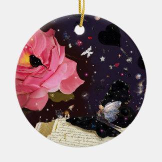 Libro de cuentos de hadas adorno navideño redondo de cerámica