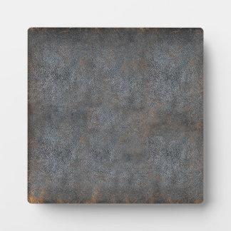 Libro de cuero apenado antigüedad placas para mostrar