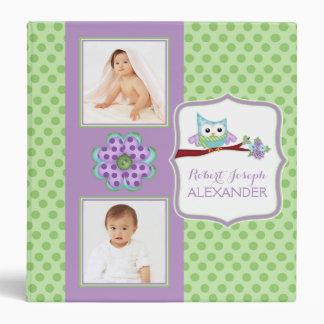 """Libro de encargo púrpura y verde del búho del bebé carpeta 1 1/2"""""""
