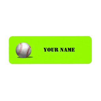 Libro de escuela verde deportivo del béisbol etiqueta de remite