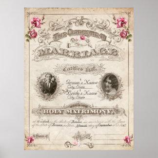 Libro de familia antiguo del vintage de los rosas