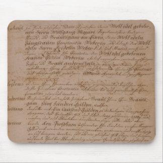 Libro de familia de Wolfgang de Mozart y de Weber Alfombrilla De Ratón