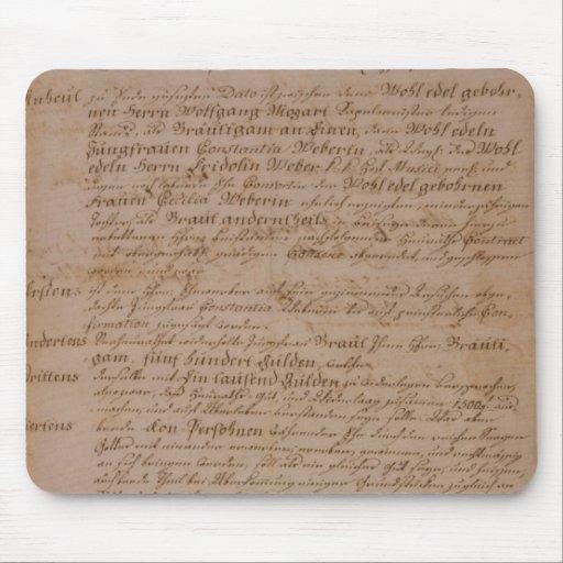 Libro de familia de Wolfgang, de Mozart y de Weber Alfombrillas De Ratones
