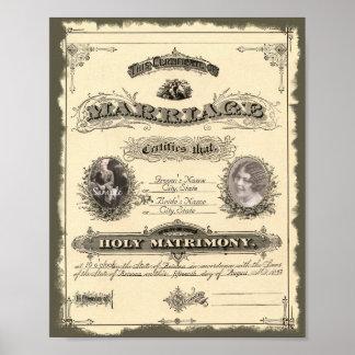 Libro de familia del vintage 1800's póster