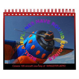 Libro de fecha del motor radial de los aviones calendarios de pared