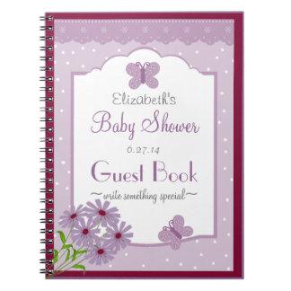 Libro de huésped de la ducha del Mariposa-Bebé de Libros De Apuntes Con Espiral