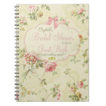 Libro de huésped Floral-Nupcial de la ducha del Libretas Espirales