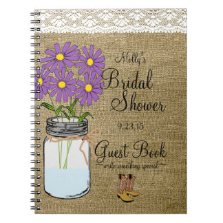 Libro de huésped nupcial de la ducha de las flores notebook