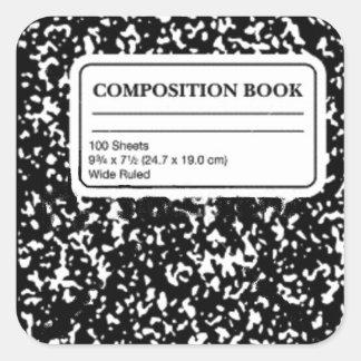 Libro de la composición calcomanía cuadradas