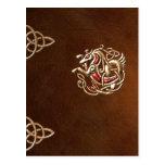 libro de la Cuero-mirada con el seahorse del celti Tarjetas Postales