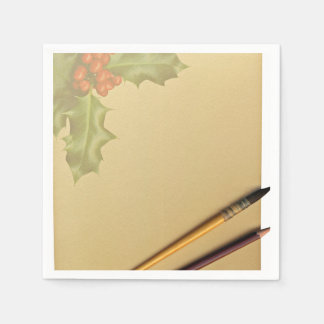 Libro de la mano con la pluma y el lápiz servilletas desechables