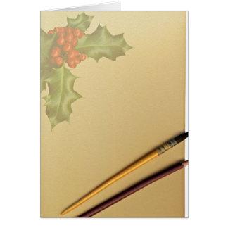 Libro de la mano con la pluma y el lápiz tarjeta de felicitación