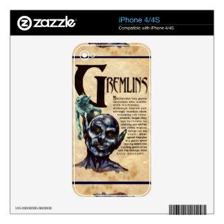 Libro de la piel del iPhone de las sombras GREMLIN Calcomanías Para iPhone 4S