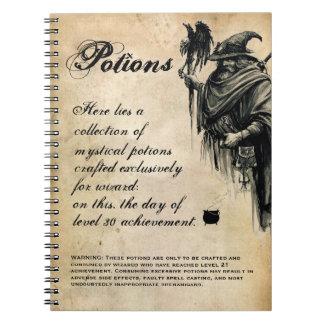 Libro de la poción de la receta de la bebida del spiral notebook