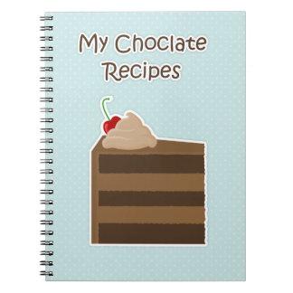 Libro de la receta de la torta de chocolate libro de apuntes con espiral