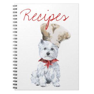 Libro de la receta de Terrier blanco de montaña de Spiral Notebooks