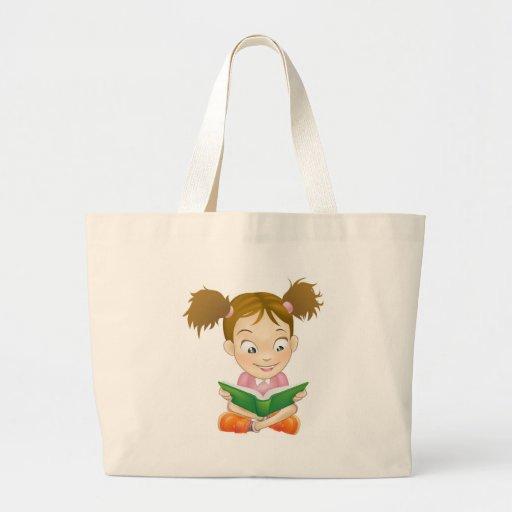 Libro de lectura de la chica joven del ejemplo bolsas