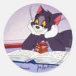 Libro de lectura de Tom y Jerry dedicado Pegatina Redonda
