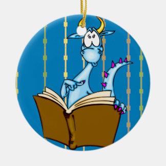 Libro de lectura del dragón adorno navideño redondo de cerámica