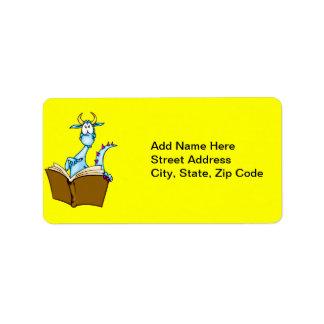 Libro de lectura del dragón etiqueta de dirección
