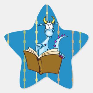 Libro de lectura del dragón calcomanía forma de estrella personalizada