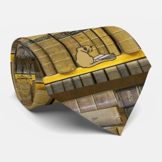 Libro de lectura del gato de la biblioteca de los corbata