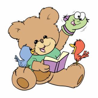 libro de lectura lindo de la imaginación del oso d esculturas fotográficas