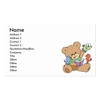 libro de lectura lindo de la imaginación del oso d tarjeta de visita