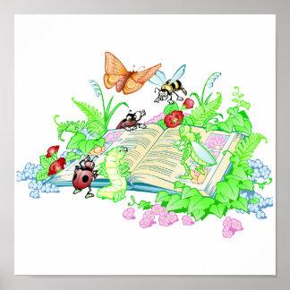 Libro de lectura lindo de los animales póster