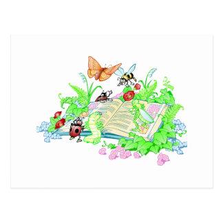 Libro de lectura lindo de los animales tarjeta postal