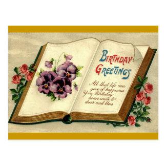 Libro de los saludos del cumpleaños del vintage 19 tarjeta postal