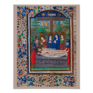 Libro de manuscrito iluminado de las horas SR001-5 Póster
