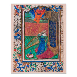 Libro de manuscrito iluminado de las horas SR001-6 Póster