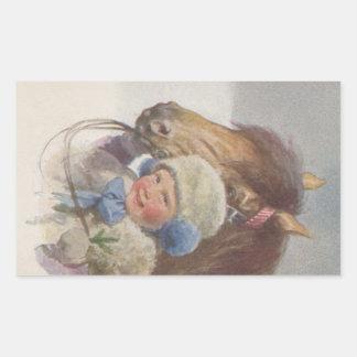 Libro de recuerdos antiguo dulce del niño del pegatina rectangular
