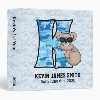 """Libro de recuerdos azul del bebé del monograma """"K"""" Carpeta 1 1/2"""""""