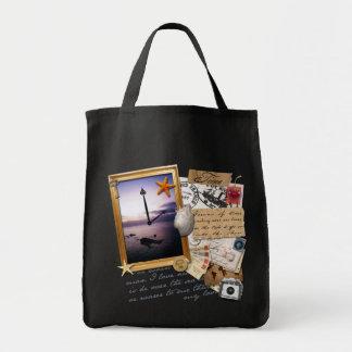 """Libro de recuerdos/collage del """"tiempo"""" bolsa tela para la compra"""