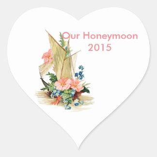 Libro de recuerdos de la luna de miel pegatina en forma de corazón