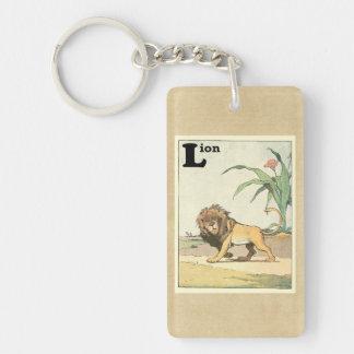 Libro de vagabundeo de la historia del león llavero rectangular acrílico a doble cara
