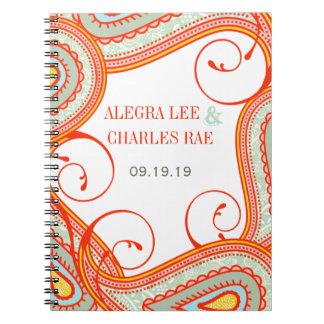 Libro de visitas amarillo-naranja moderno de la libretas espirales