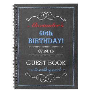 Libro de visitas blanco y azul rojo de la fiesta spiral notebooks