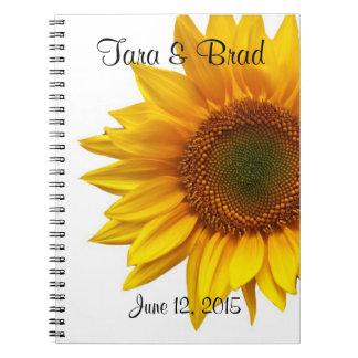 Libro de visitas bonito del boda del girasol libretas espirales