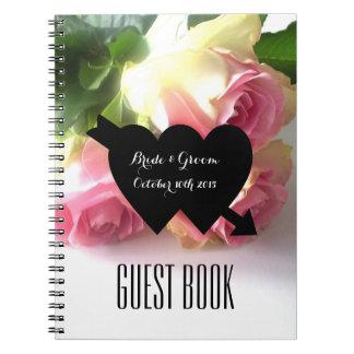 Libro de visitas color de rosa rosado romántico notebook