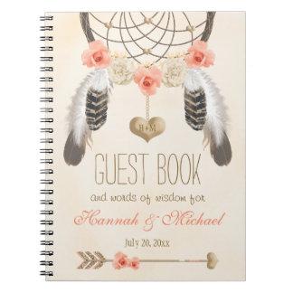 Libro de visitas con monograma del boda de Boho Cuaderno