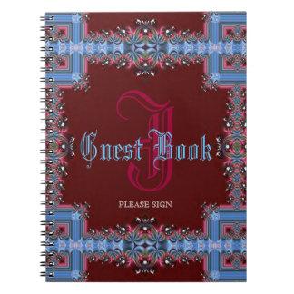 Libro de visitas de encaje azul rojo medieval del  libretas