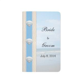 Libro de visitas del boda de playa del Seashell Cuadernos Grapados