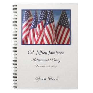 Libro de visitas del fiesta de retiro, banderas libretas