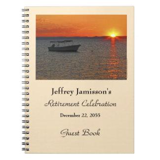 Libro de visitas del fiesta de retiro, barco de libro de apuntes con espiral